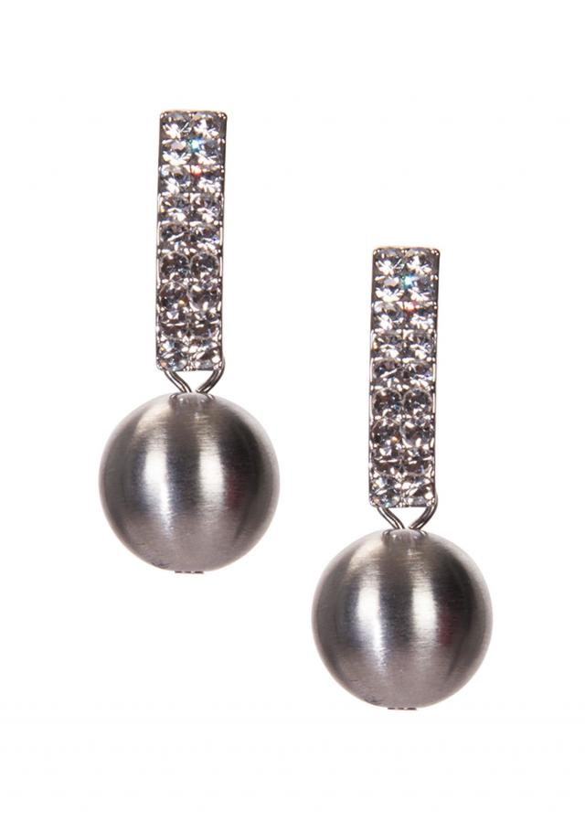 Silver Pearl Earrings Adorn In Diamond Stones only on Kalki