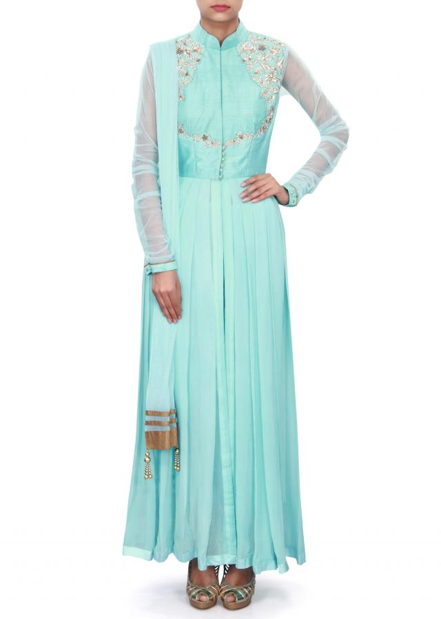 Sky blue anarkali suit adorn in zardosi embroidery only on Kalki