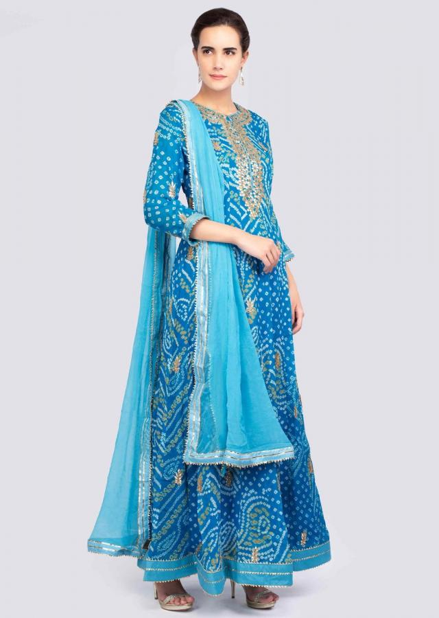 Sky Blue Anarkali Suit In Bandhani Printed Georgette Online - Kalki Fashion
