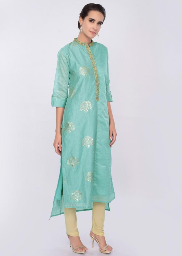 Sky blue cotton kurti with foil print and zari embroidery only on Kalki