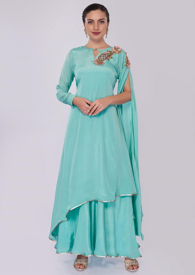 Sky Blue Layered Tunic Dress In Satin Crepe Online - Kalki Fashion