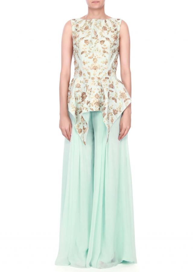 sky blue embroidered peplum top with palazzo pant only on kalki