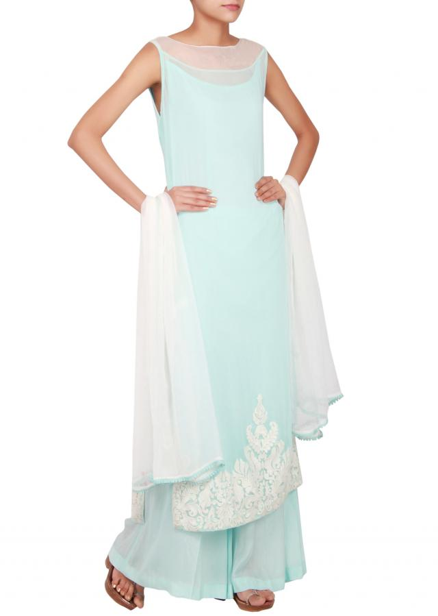 Sky blue georgette straight cut salwar kameez embellished in thread work only on Kalki