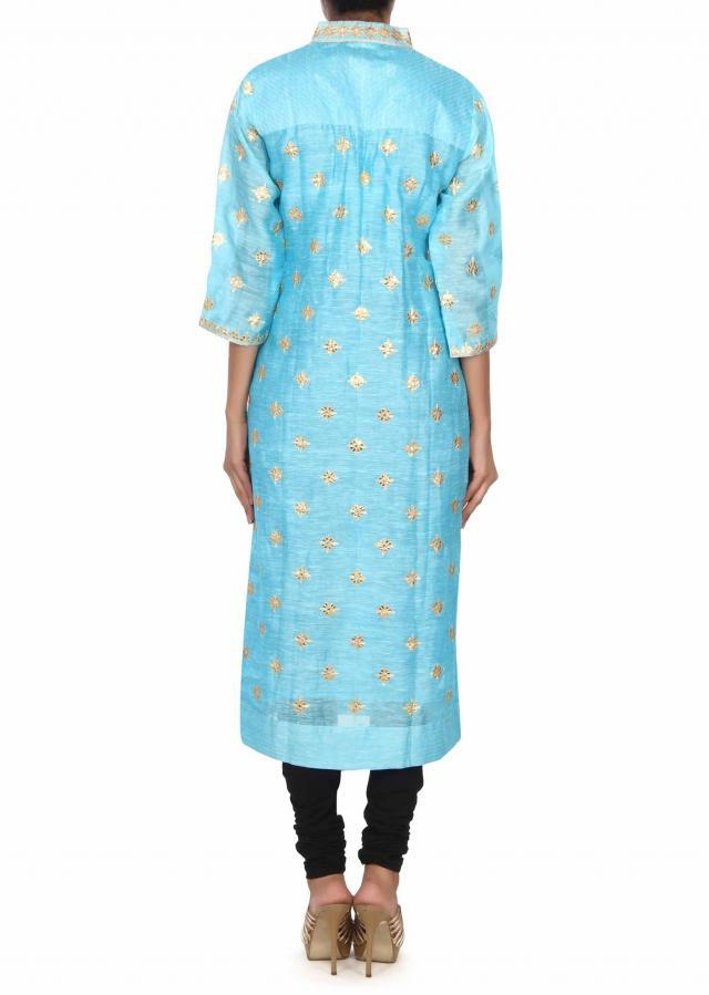 Sky blue kurti adorn in gotta patch work and zari embroidery only on Kalki