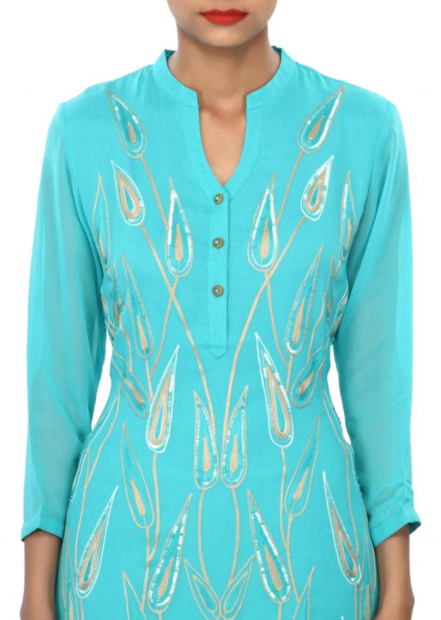 Sky blue kurti embellished in resham and sequin embroidery only on Kalki