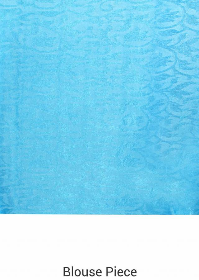 Sky blue saree in floral print and weaved border only on Kalki