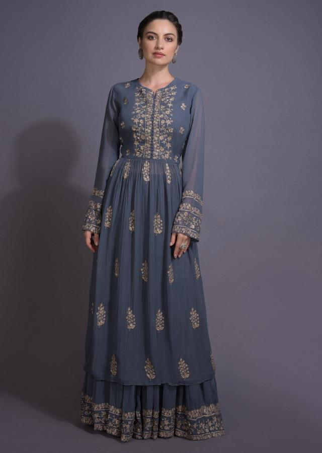 Slate Grey Anarkali Suit With Sharara Bottoms And Floral Embroidery Online - Kalki Fashion