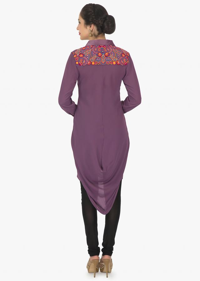 Mauve purple georgette kurti with fancy drape and resham work only on Kalki