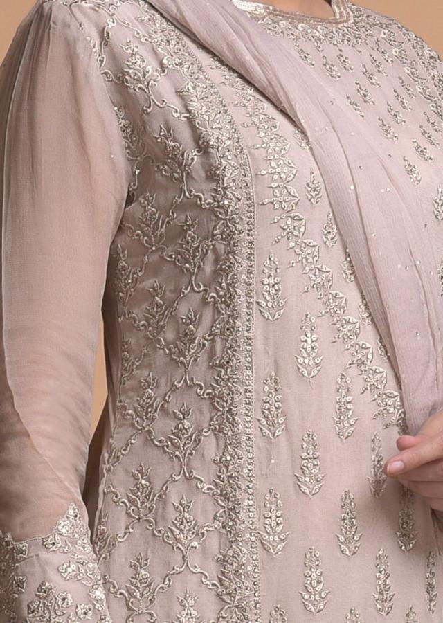 Smoke Grey Sharara Suit With Thread And Kundan Work In Floral And Moroccan Motifs Online - Kalki Fashion