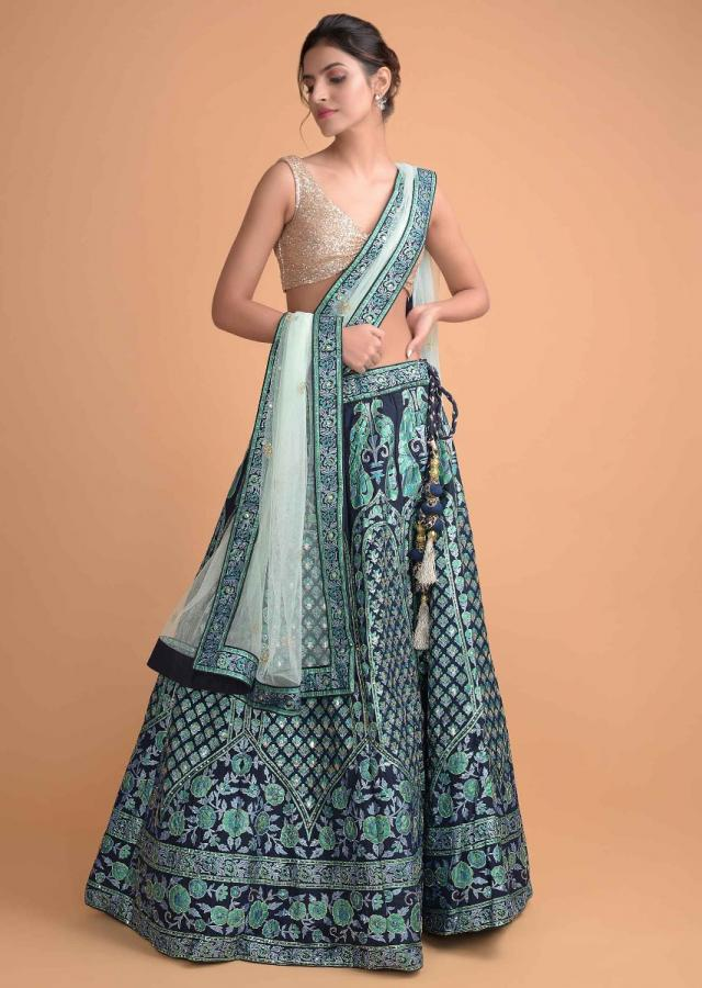 Space Blue Lehenga In Silk With Foil Printed Peacock Motifs And Floral Pattern Online - Kalki Fashion