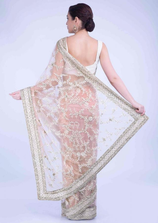 Starfish Peach Saree In Net With Matching Unstitched Blouse Piece Online - Kalki Fashion
