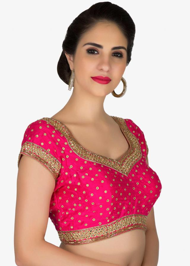 Stitched Rani Pink Silk Blouse Adorned with Zari, Kundan, Cut Dana and Sequins only on Kalki
