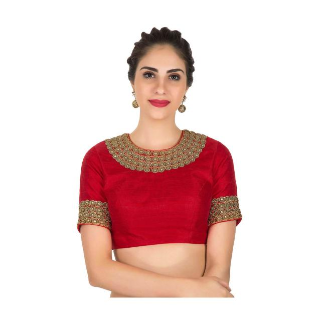 Stitched Red blouse in raw silk embellished in zari zardosi work only on Kalki