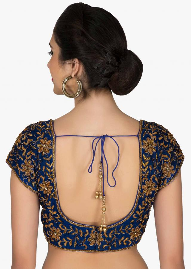 Stitched Royal Blue Silk Blouse Adorned with Zardosi Work only on Kalki