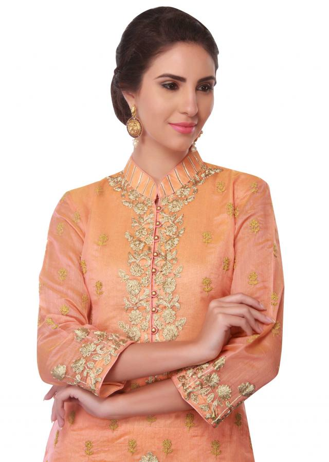Straight suit in orange cotton silk with resham embroidery only on Kalki