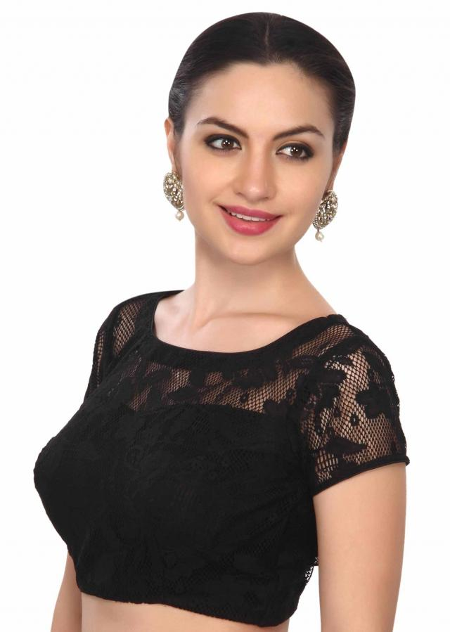stylish black lace blouse only on Kalki