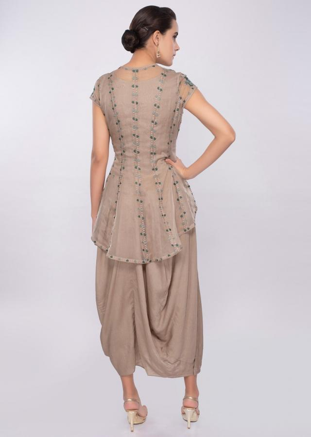 Tan cream cotton tunic with gathers paired with additional organza jacket only on Kalki