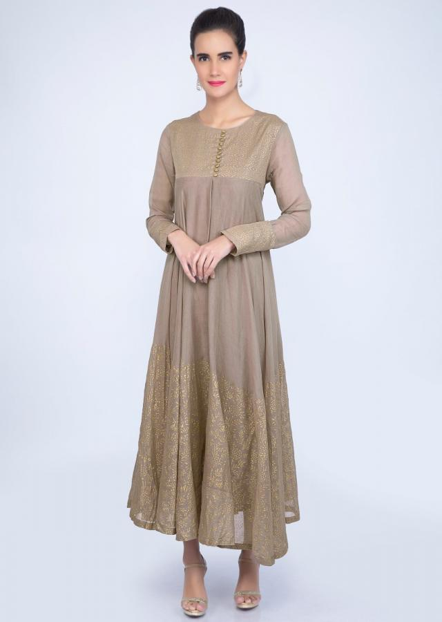 Taupe grey cotton dress in foil print only on kalki