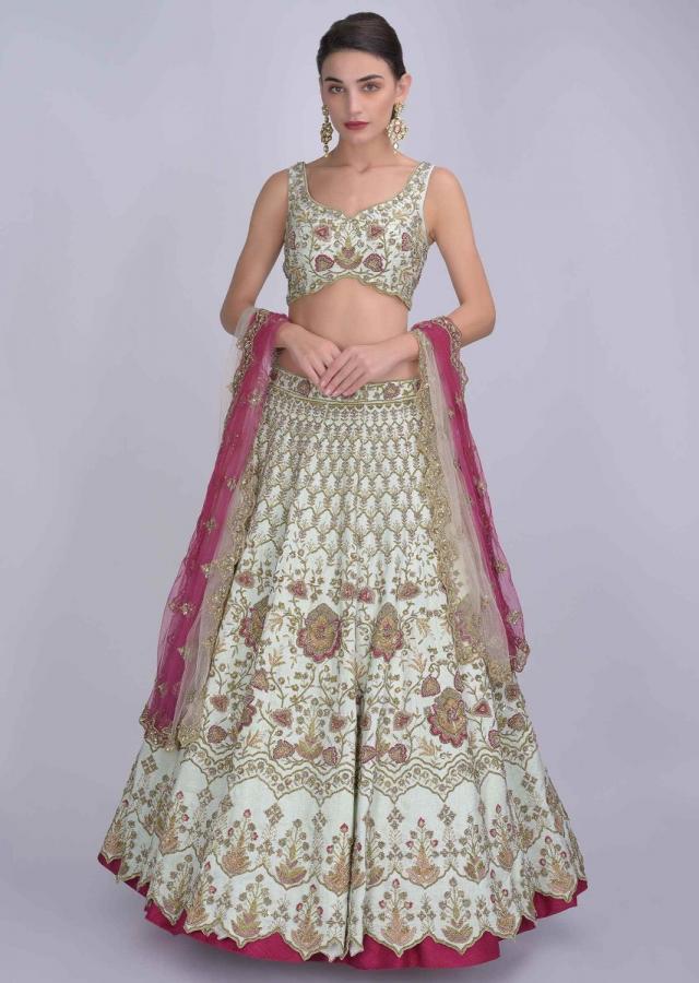 Tea Green Lehenga And Blouse In In Raw Silk And Pink Ombre Net Dupatta With Floral Embroidery Online - Kalki Fashion