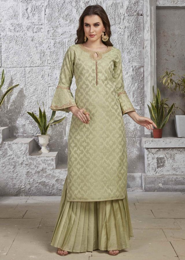 Tea Green Suit In Silk With Net Dupatta Online - Kalki Fashion