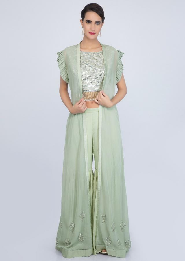 Tea Green Three-Piece Sharara Set With Cut Dana And Sequins Work Online - Kalki Fashion