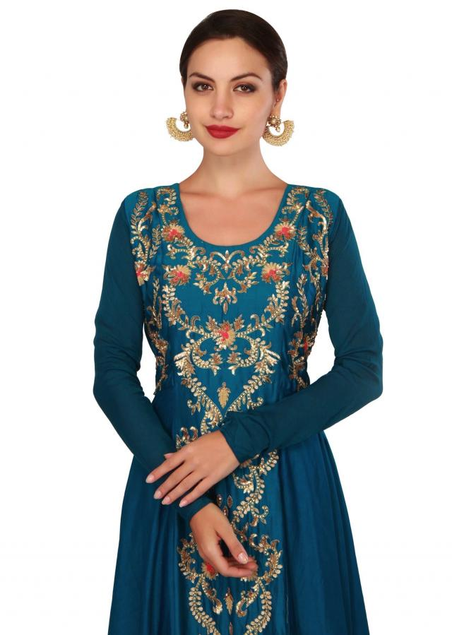 Teal blue dress embellisehdi n french knot and sequin only on Kalki
