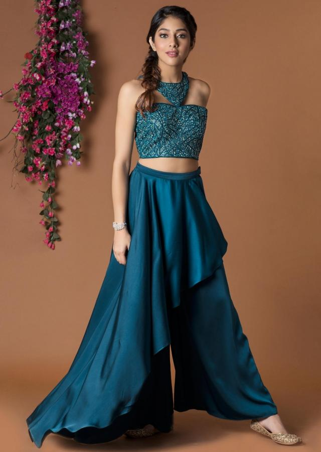 Teal Crop Top And Layered Palazzo Set With Fancy Neckline Online - Kalki Fashion