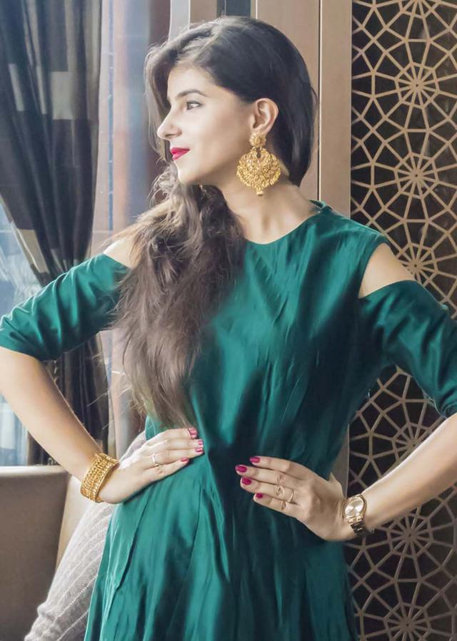 Teal Green Gown With Cold Shoulder And Sequin Butti Online - Kalki Fashion
