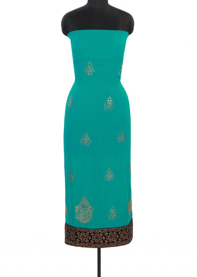 Teal green unstitched suit in kundan embroidery only on Kalki