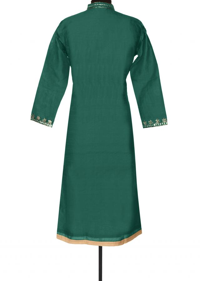 Teal kurti with zari and mirror placket only on Kalki