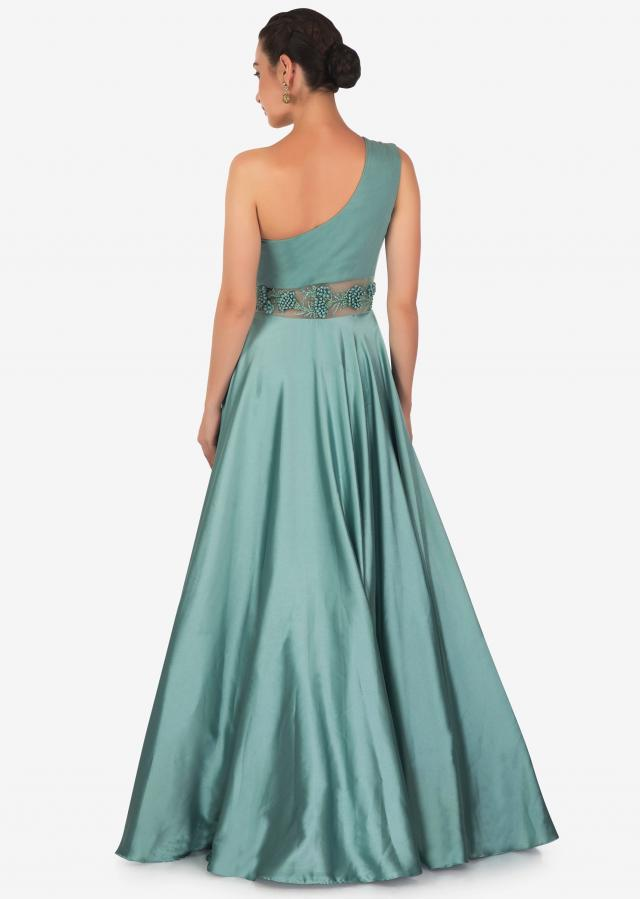 Teal Satin Georgette Drape Gown Designed with French Knot and Potli Work Only on Kalki