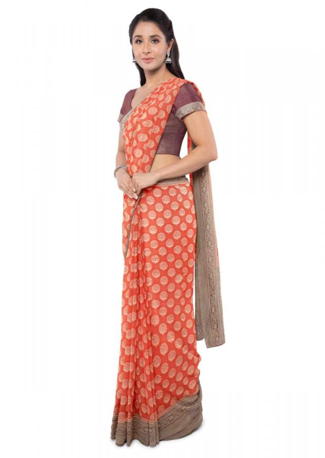 Tiger Orange Banarasi Saree In Chiffon With Brown Blouse Piece Online - Kalki Fashion