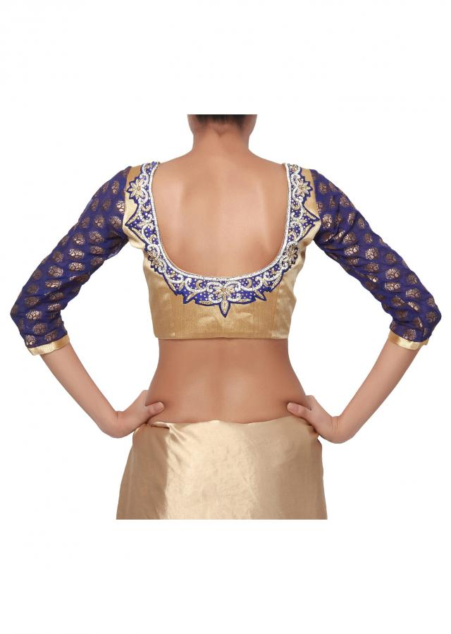 Timeless Gold with wide blue neck embroidery, brocade sleeves