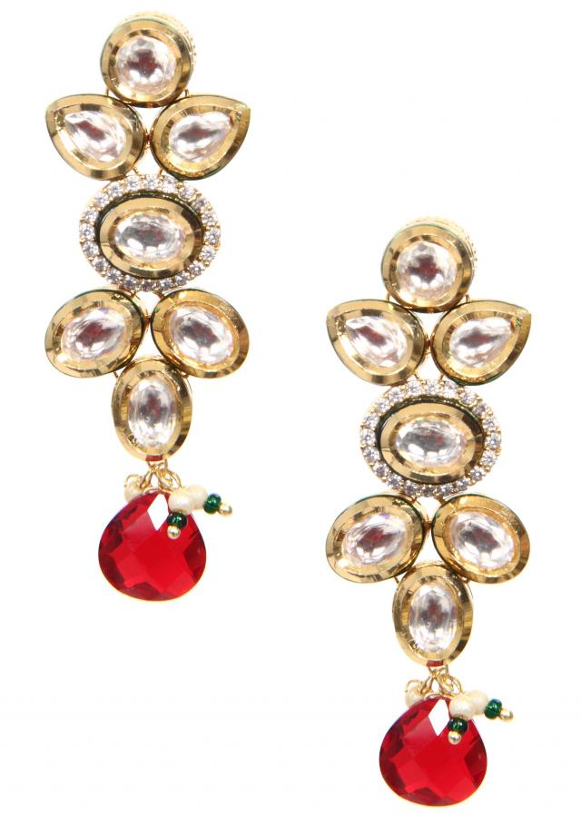 traditional gold kundan earring with gold enamel and american diamond with a zirconia drop