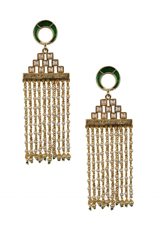 Traditional green and white pearl dangler earrings only on Kalki