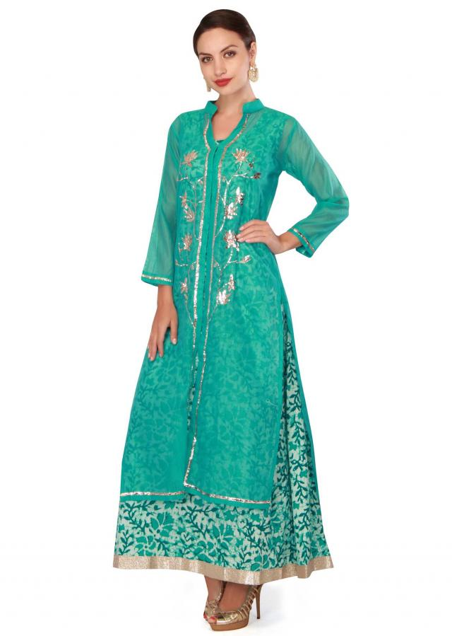 Turq blue kurti in gotta lace with printed inner only on Kalki