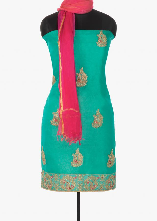 Turq blue unstitched suit in bird motif embroidery only on Kalki