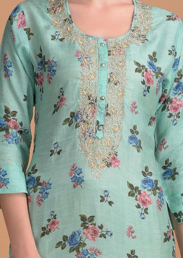 Turq Kurti In Floral Print With Embroidered Placket Online - Kalki Fashion