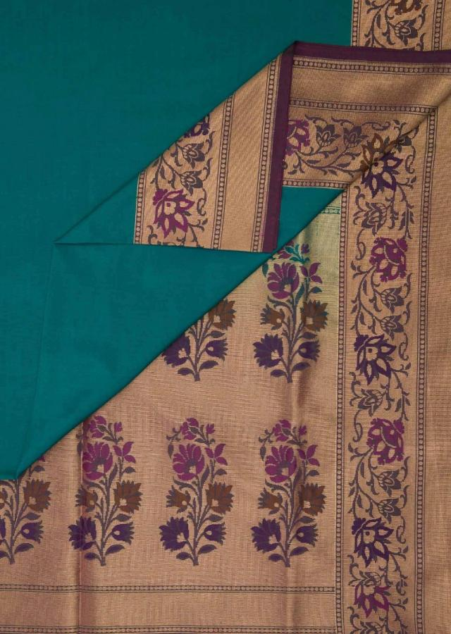 Turq Blue Saree With Floral Motif Border And Pallu Online - Kalki Fashion