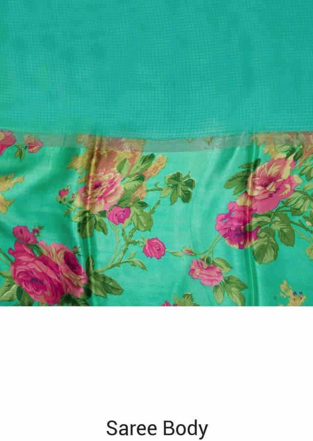 Turq green saree in georgette with floral print only on Kalki