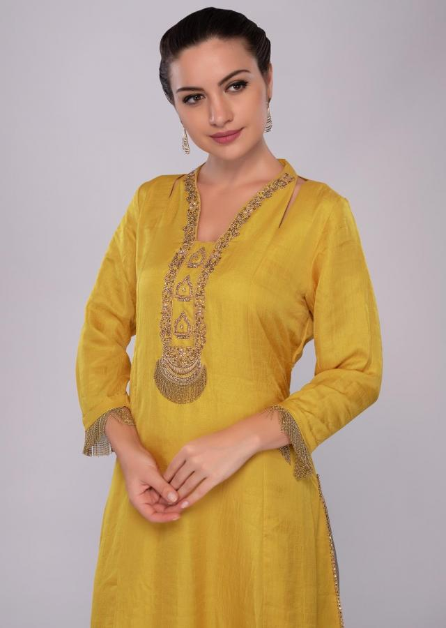 Tuscan yellow tunic dress with embroidered neck and placket only on Kalki