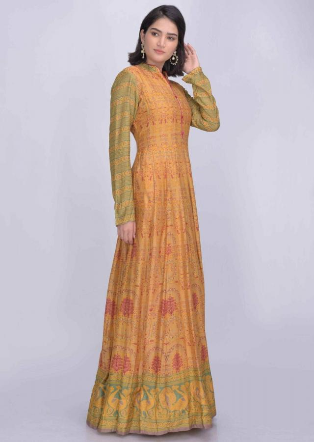 Tuscany yellow colored cotton silk anarkali suit with patola print only on Kalki