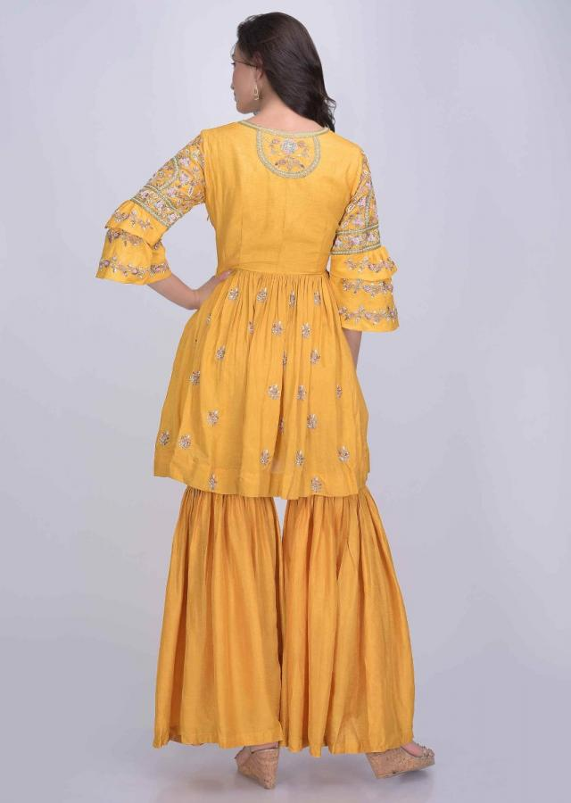 Mustard Sharara Suit Set In Raw Silk Online - Kalki Fashion