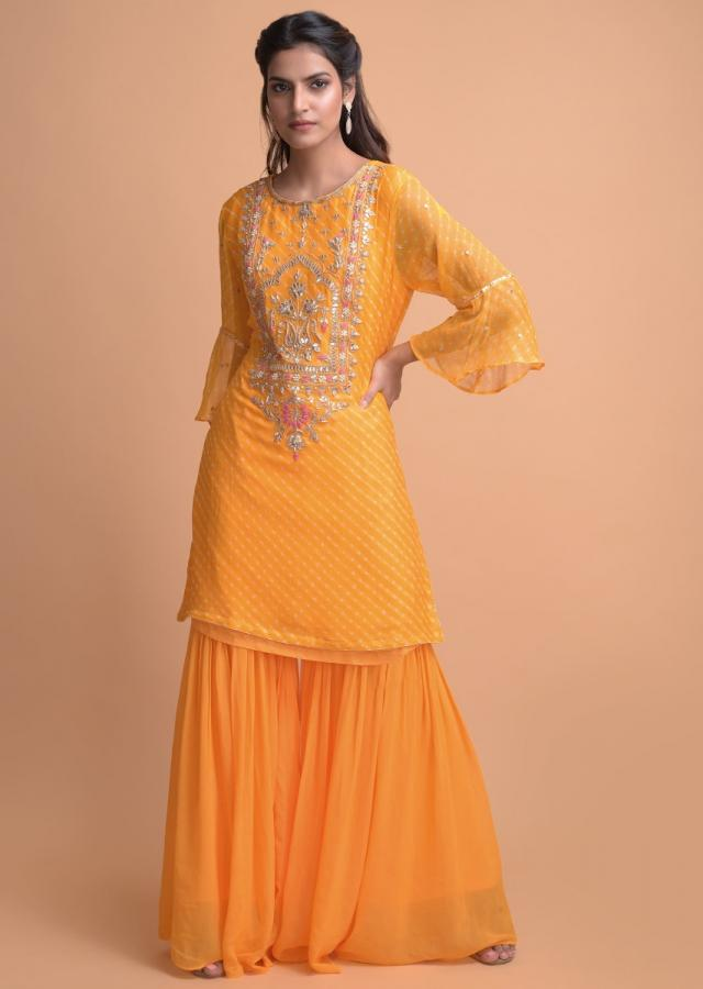 Tuscany Yellow Sharara Suit In Chiffon With Lehariya Print With Gotta Lace Online - Kalki Fashion