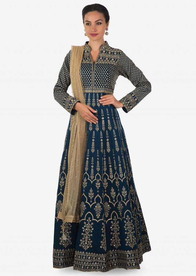Twilight blue anarkali suit in silk with resham embroidery all over only on Kalki