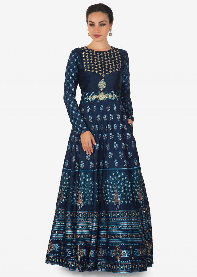 Twilight blue printed anarkali dress in cotton silk with gotta patch and resham work only on Kalki