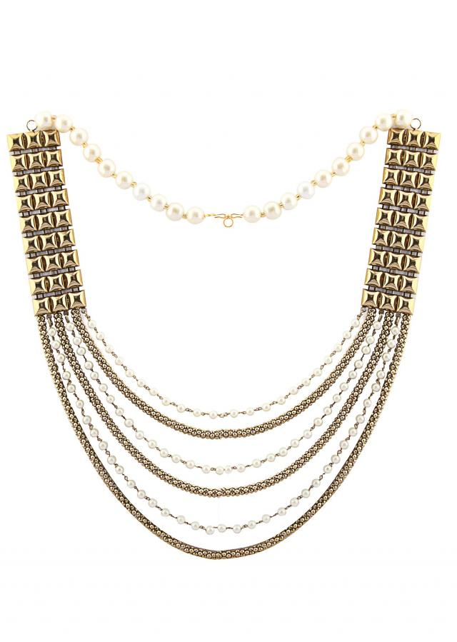 Two sided long neckpiece with pearls and chains only on Kalki