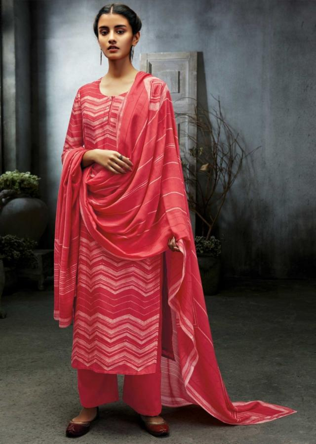 Rouge Pink Unstitched Suit With Chevron Printed Pattern And Sequin Work Online - Kalki Fashion