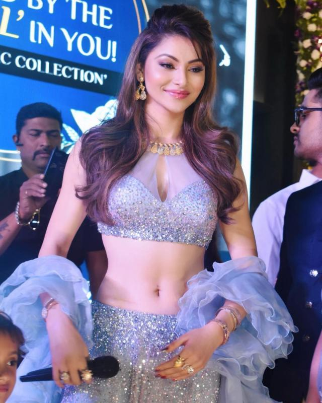 Urvashi Rautela In Kalki grey sequins embroidered net lehenga  with sheer net blouse and ruffled dupatta