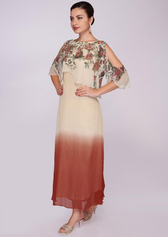Vermillion Orange And Cream Layered Dress Enhanced In Digital Print Online - Kalki Fashion